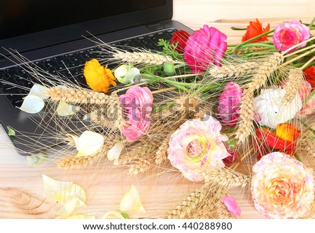 Laptop with blank black screen and flowers with wheat ears. Composition on a wooden background. Technology and nature. Job and vacation ( holiday, weekend, rest ) . Summertime. Conceptual image  - stock photo