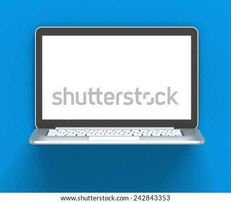 Laptop with blank screen against blue wall, 3d render, blue background