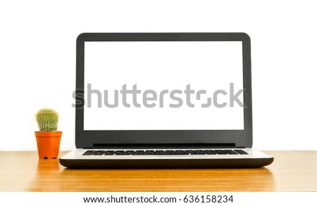 Laptop with blank screen and cactus on table. isolated on white background