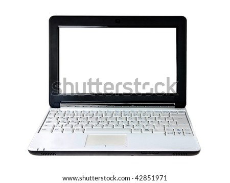 Laptop with blank screen - isolated