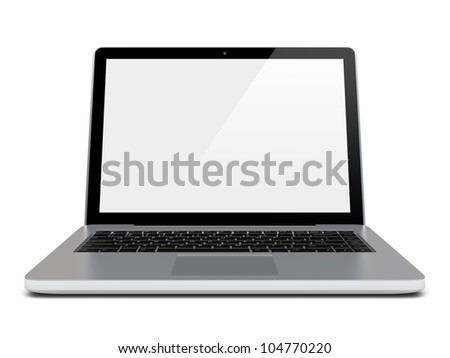 Laptop with blank screen. Isolated on a white. 3d image