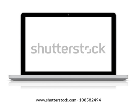 Laptop with blank screen. Isolated on a white. 3d image 	 - stock photo
