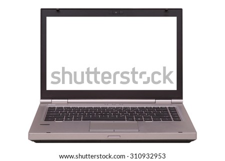 Laptop with blank screen isolated on white background