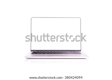 Laptop with blank screen isolated on white background - stock photo