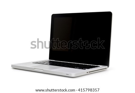 Laptop with blank  screen. Isolated on white background