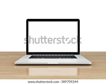 Laptop with blank screen isolated on white background, white aluminium body on blue wooden desk.