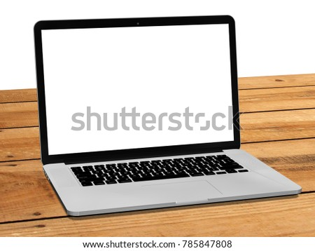 Laptop with blank white screen on wooden table - 3d render