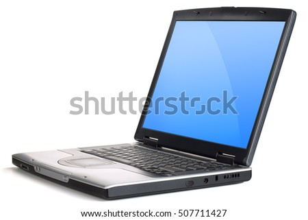 Laptop with blue gradient screen. Isolated on white background