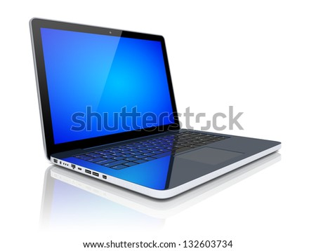 Laptop with blue screen on a white background. 3d image