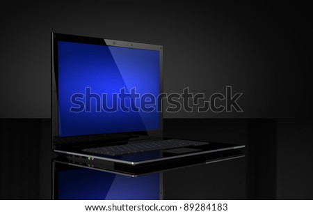 Laptop with blue screen on black