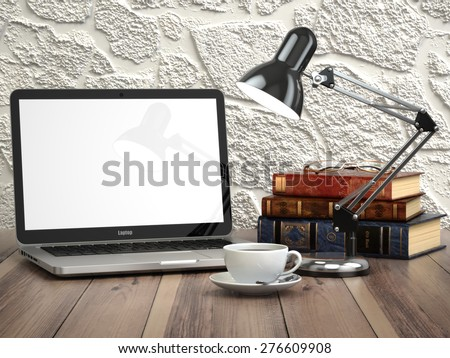 Laptop with books and coffee cup on the vintage desk. Modern stylish workspace. 3d - stock photo