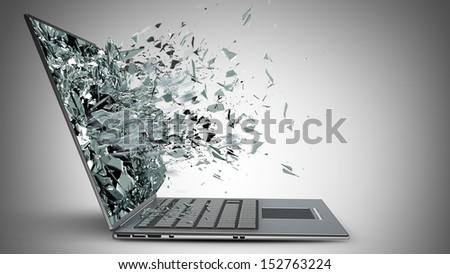 laptop with broken screen  - stock photo