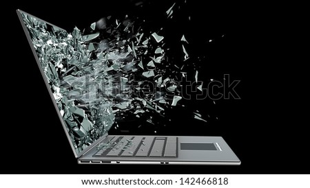 laptop with broken screen isolated on black background - stock photo