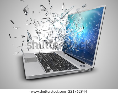laptop with broken screen isolated on white background - stock photo