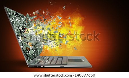 laptop with broken screen on fire High resolution 3d - stock photo