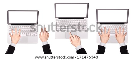 laptop with Businessman hand isolated on white background - stock photo