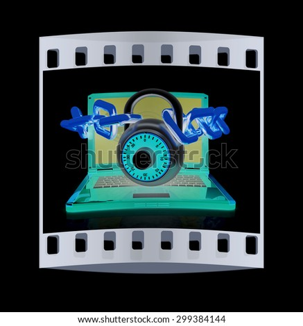 Laptop with chains and lock.3d illustration on black isolated background. The film strip - stock photo