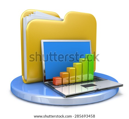 laptop with chart and file folder - stock photo