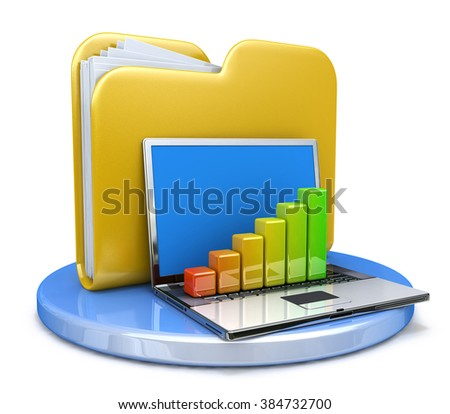 laptop with chart and file folder in the design of the information related to the transfer of data - stock photo