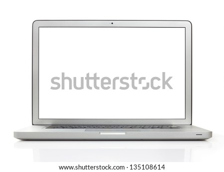 Laptop with 2 clipping paths - stock photo