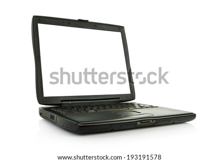 laptop with clipping paths included - stock photo