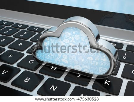 Laptop with cloud computing symbol on keyboard. 3d rendering.