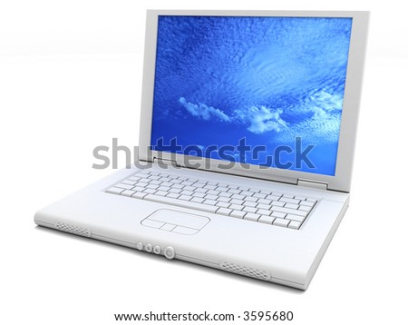 Laptop with clouds wallpaper