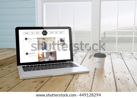 laptop with coffee showing blog on screen near the window. 3d Rendering. - stock photo