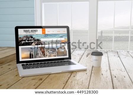 laptop with coffee showing travel agency website website on screen near the window. 3d Rendering. - stock photo