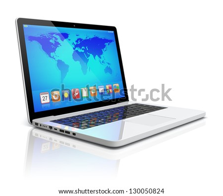 Laptop with colorful apps and Earth world map on a screen. Isolated on a white. 3d image