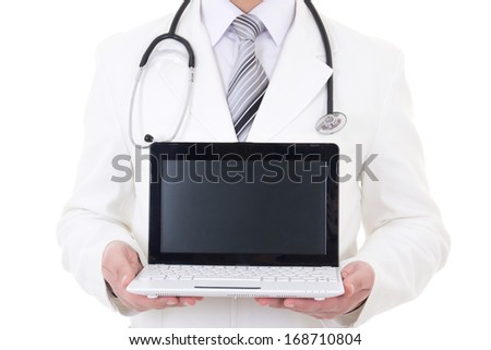 laptop with copy space in doctor's hands isolated on white background