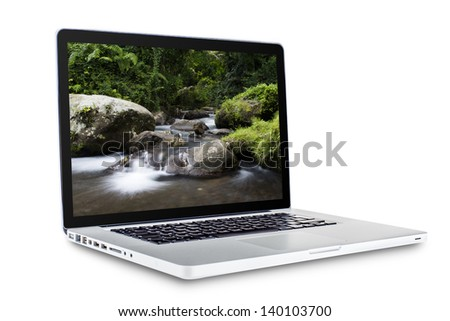 laptop with desktop backgrounds isolated on white background - stock photo