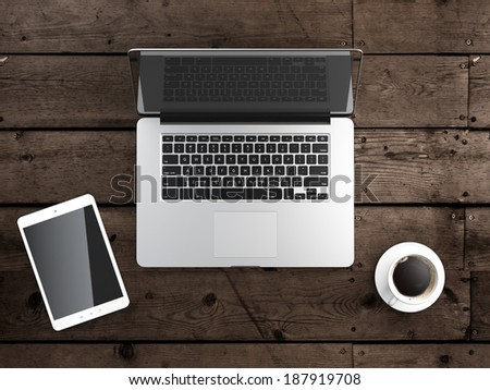 laptop with digital tablet - stock photo