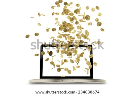 Laptop With Dollar, Gold  Coin Falling on White Background. - stock photo