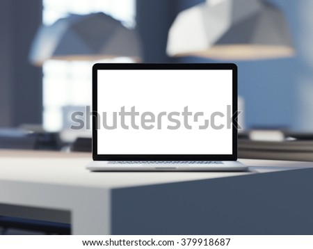 Laptop with empty screen in the corner of desk. Work place in loft office. 3d render