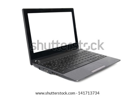 Laptop with empty screen isolated on white - stock photo