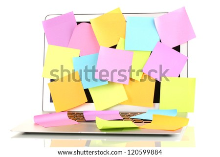 Laptop with empty stickers isolated on white - stock photo