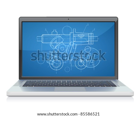 Laptop with engineering blueprint.