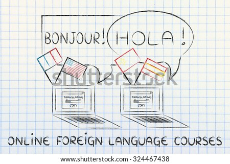 laptop with flags speaking foreign languages, concept of online foreign language courses - stock photo