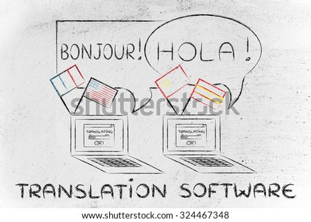 laptop with flags speaking foreign languages, concept of translation softwares - stock photo