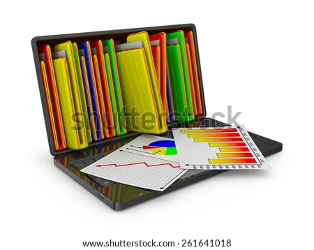 Laptop with folders and sheets with infographics