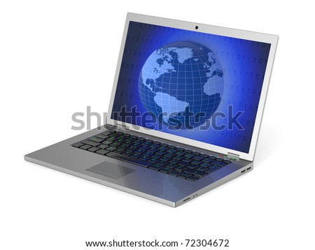 Laptop with  globe on screen isolated on white background