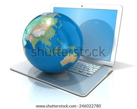 Laptop with illustration of earth globe, Asia and Oceania view. 3D rendering isolated on white background. Elements of this image furnished by NASA