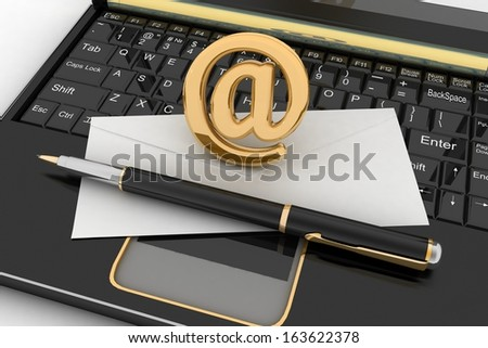 Laptop with incoming letter via e-mail. 3d render illustration  - stock photo