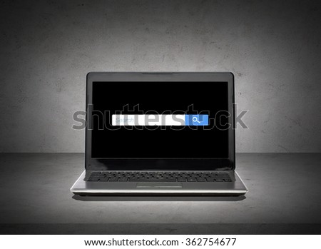 laptop with internet browser search bar on screen