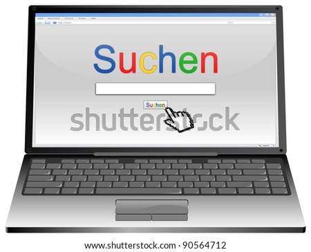 Laptop with Internet Search engine browser window - stock photo
