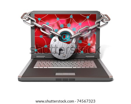 Laptop with lock and chain