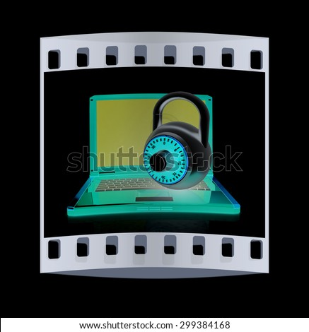Laptop with lock.3d illustration on black isolated background. The film strip - stock photo