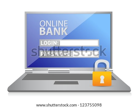 laptop with lock illustration design over a white background - stock photo