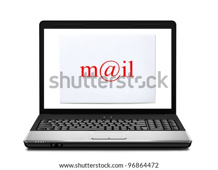 Laptop with mail envelope isolated - stock photo